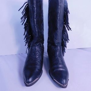 Shoes - Black Leather Fringed Cowboy Boots Size 6